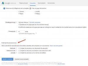 Extensiones de Google Adwords